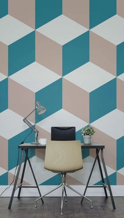 Geometric wallpaper pattern that gives 3-D effect