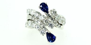 wedding and engagement ring, handmade in Bath, perfect fit, sapphire and diamond