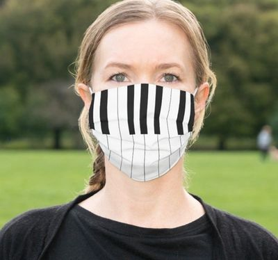 Student wearing a piano key face mask