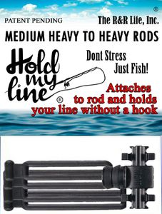 Hold My Line Fishing Rod Line Holder Gear Accessories Equipment for Freshwater Reels (Fits Rods Medi