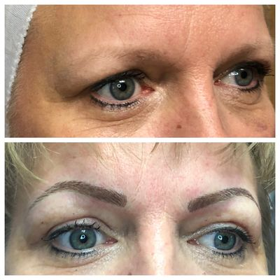 Before & Immediately After Digital Microblading.  The color will soften with healing...