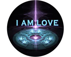 "'I AM LOVE'   2.25"" x 2.25"" button badge with pin. SPACE NEEDLE"