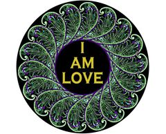 "'I AM LOVE'   2.25"" x 2.25"" button badge with pin. WREATH"