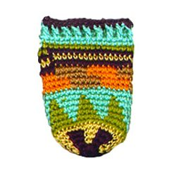 NATIVE AMERICAN tiny hand-crochet amulet/keepsake pouch.