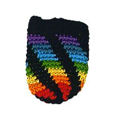 RAINBOW WITH BLACK tiny hand-crochet amulet/keepsake pouch.