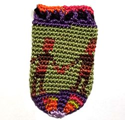 DANCING PEOPLE tiny hand-crochet amulet/keepsake pouch.