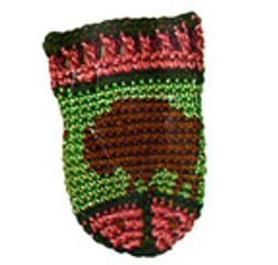 BISON  tiny hand-crochet amulet/keepsake pouch.