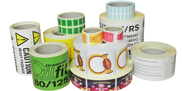 rolls of pressure sensitive labels.  different sizes, shapes, colors and stocks.