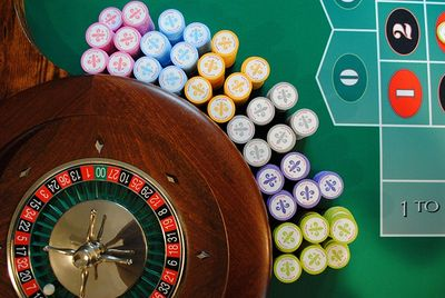 Amherst Casino Events' roulette wheel and roulette chips.