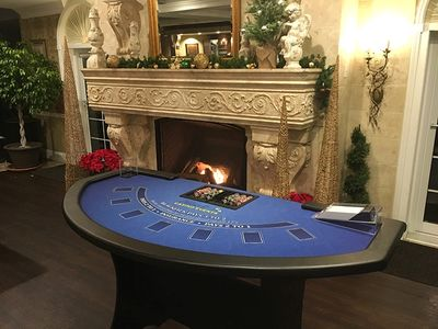 Amherst Casino Events' blackjack table at a Holiday Casino Night Party.