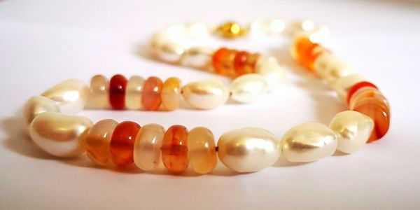 rice pearl and fire opal necklace