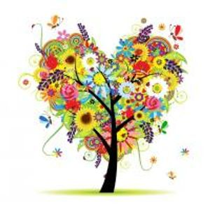 a joyful colorful tree full of flowers and birds and butterflies. Messy and beautiful as life.