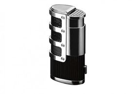 B&L Fine Cigars Refillable Triple Torch Flame w/Retractable Punch & Mesh Accents in Gift Box.