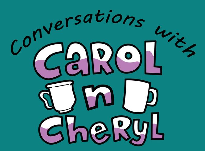 Conversations with Carol n Cheryl logo. Teal with white and purple letters, coffee cups.