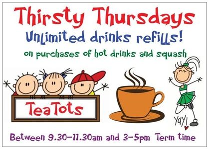 Unlimited refills on hot drinks and squash on Thursdays in term time.