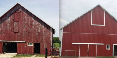 Steel siding, custom steel trim, steel roof, barn renovation and preservation.