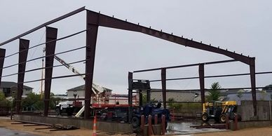 Steel frame building construction.