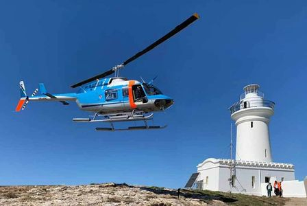Guided walking tours with helicopter flights by Precision Helicopters. South Solitary Lighthouse NSW