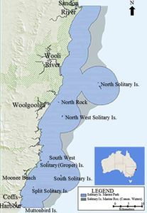 Location of South Solitary Island in the Solitary Islands Marine Park, New South Wales