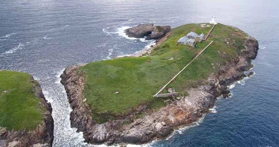 Aerial landscape view of South Solitary Island, Lighthouse, New South Wales