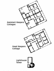 Floor plans of the buildings, lighthouse on South Solitary Island, historic architect drawings