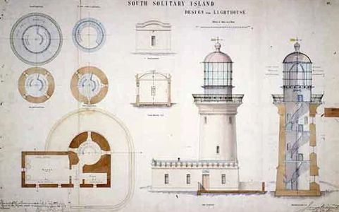 Plans of the Lighthouse on South Solitary Island, historic architect plans