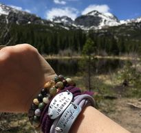 Gemstone bracelets worn on a trip to the Rocky Mountains