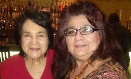 Mina with arts supporter Dolores Huerta.