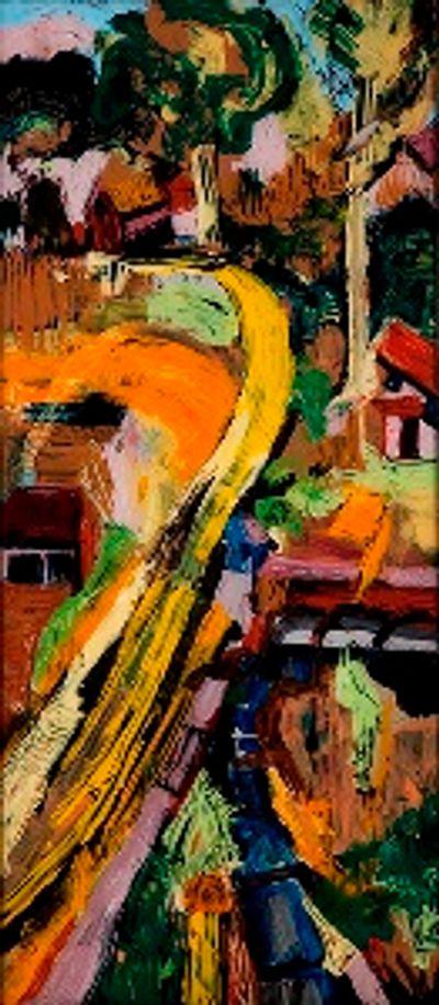 "A large, vintage framed reverse oil painting on glass....""Yellow Road"""