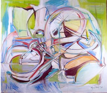 "oil painting on canvas   - The Framingham Bike""      a medium size abstraction,framed."