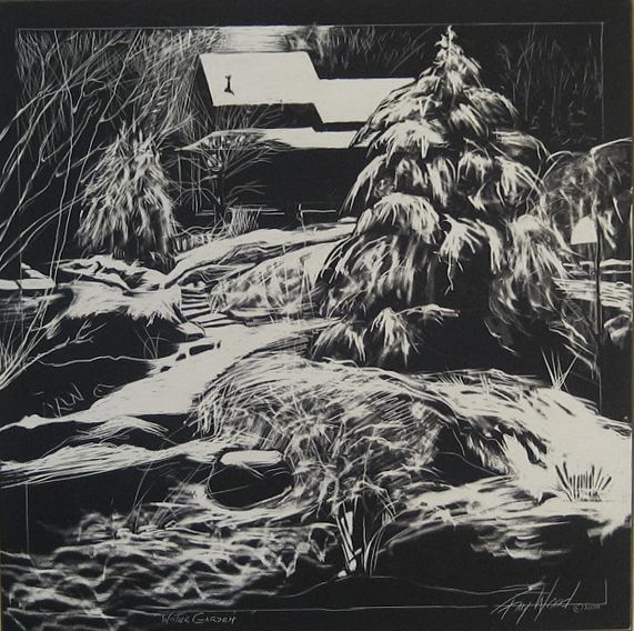 "A complex drawing on Claybord Black,using tools both hand-made and purchased.  ""Winter Garden""."