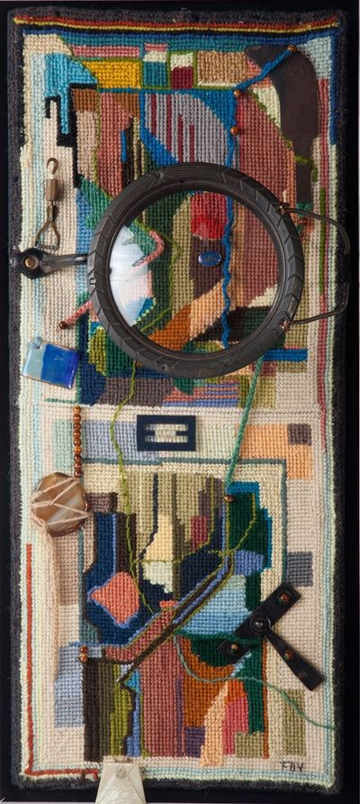 Tapestry Of My Mind - SIG is a tapestry using wool,cotton &silk fibers with found  objects.