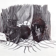 "Still life of Black Amythyst Vases. Pen & ink on acid-free rag paper. 14 "" x 18"" framed"