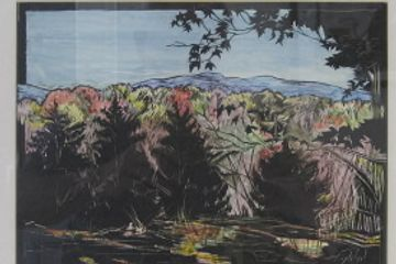""" Fall in Fish Creek""  A drawing of evergreens and the Catskill Mountains  on Claybord BlackTM ."