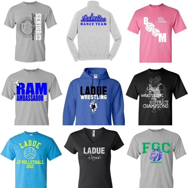 Custom printed T-shirts for the Ladue Rams.