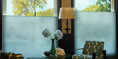 Duette honeycomb shade, cellular shades, living room shades, hunter douglas duette, rockville MD
