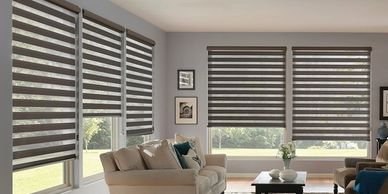Twinlight Shades, zebra shades, banded shades, roller shades, sheer roller shades, Rockville MD