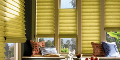 Vignette roman shades, hunter douglas, roman shades, top down bottom up shades, rockville, MD