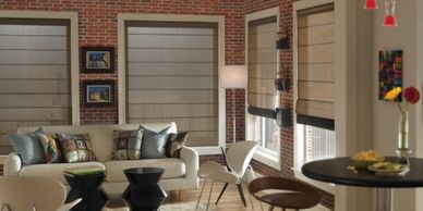 Roman shades, screen roman shades, living room shades, Vista Products, Rockville MD, Metro DC