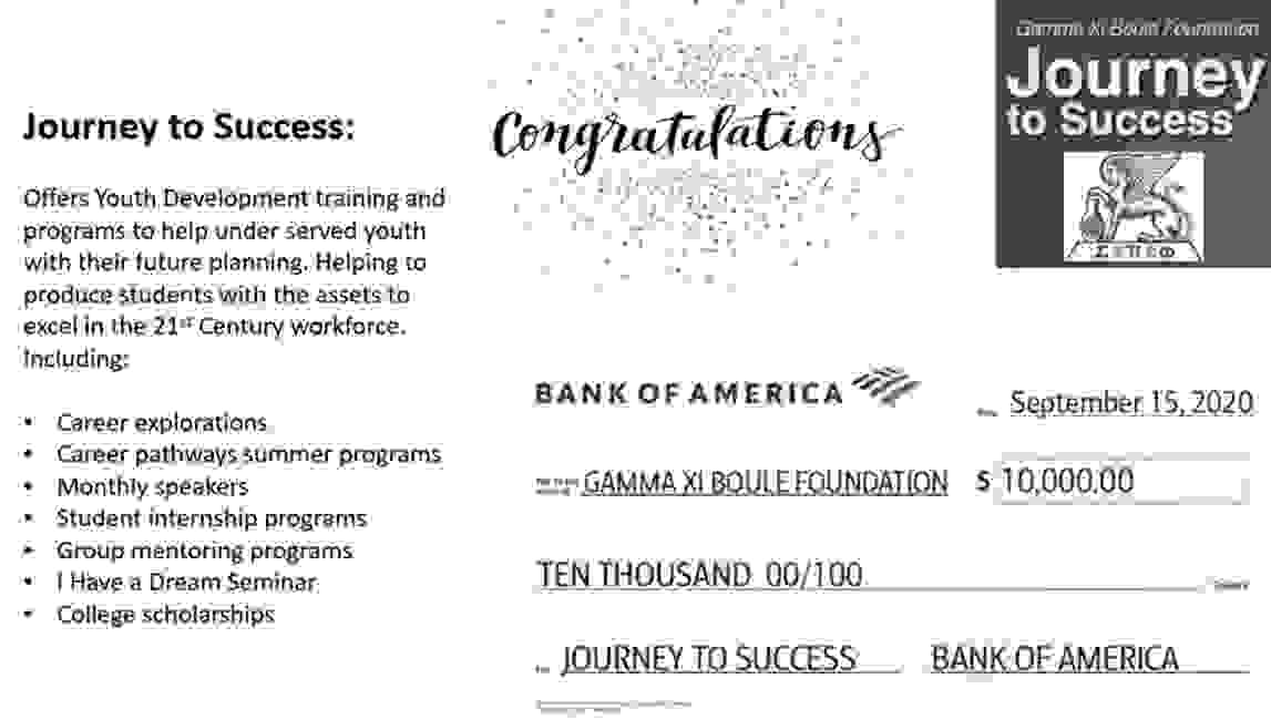 Image of a check to Gamma Foundation from Bank of America for $10,000