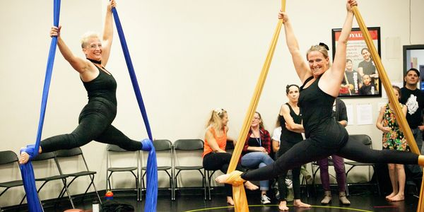 adult aerial silks students performing at Springs Dance