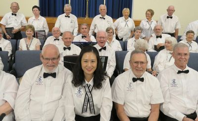 West Side Tremble Clefs Concert, Nov 3,  2019.  Tim is seated in the front row, on the far right.