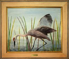 Sandhill Crane Painting by Curt Whiticar, artist