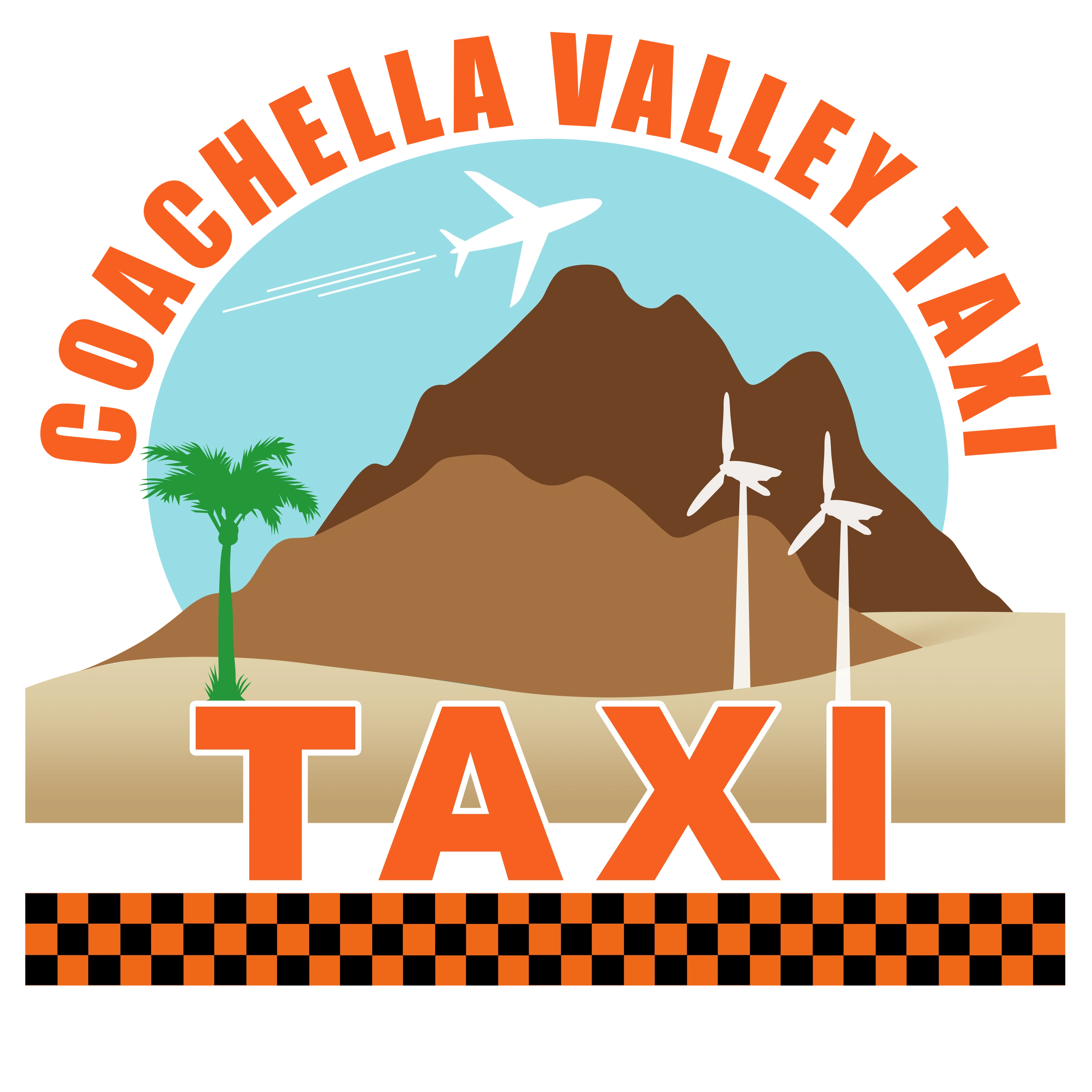 Coachella Valley Taxi Logo Design: Windmills set before the Santa Rosas, airplane above, palm below
