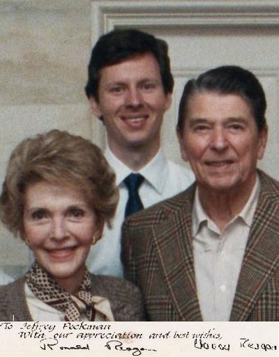 Jeff Peckman Standing Behind President and Mrs. Reagan