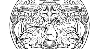 rabbit trumpet adult coloring book page jungle forest