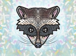 raccoon face mask - raccoon mask - face mask - small face mask - animal print mask - raccoon mask