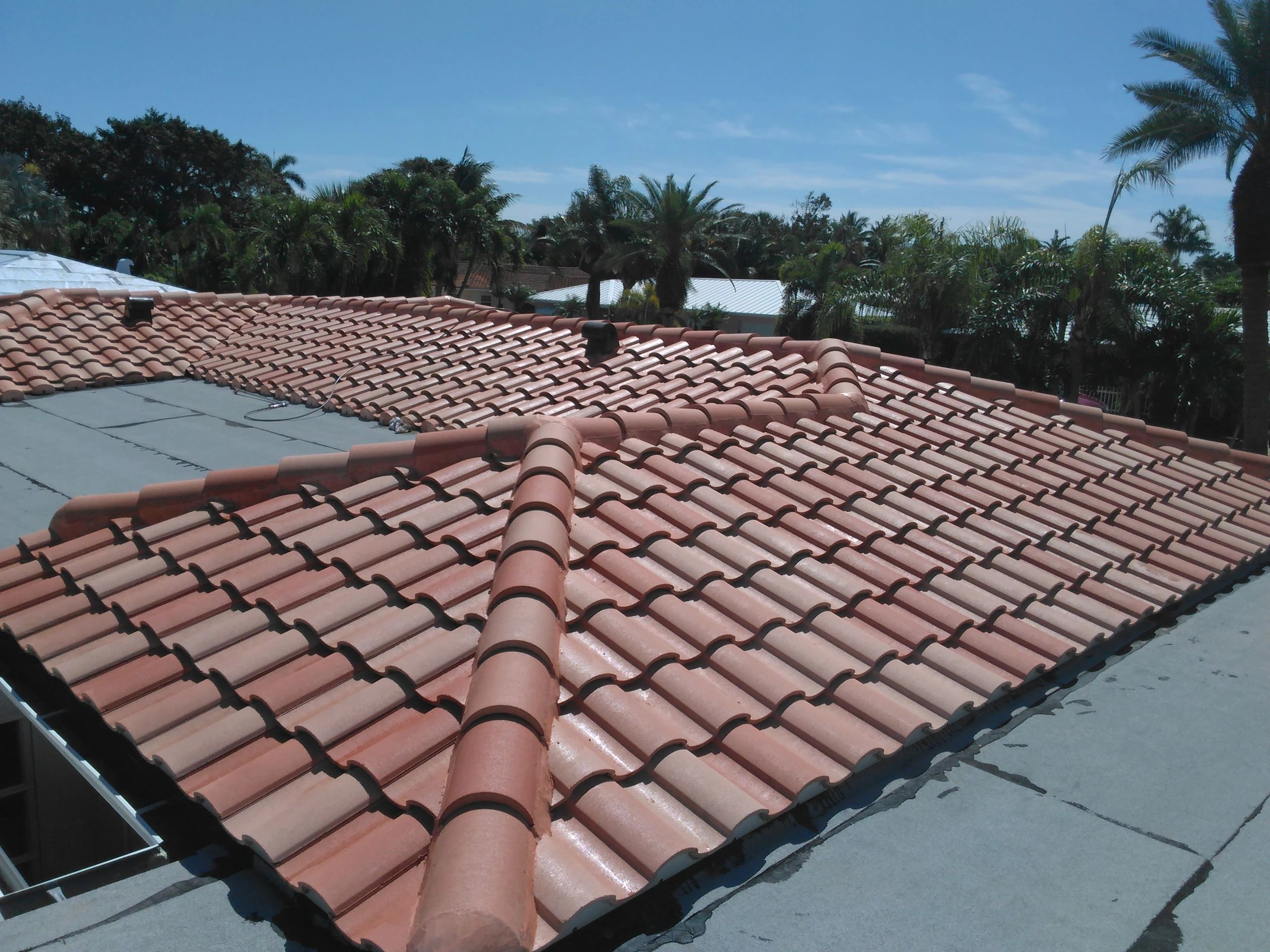 Barrel Tile Roof '  Soft Wash Chemical Cleaning>  100 %  Acrilc Chrystal Clear  Tile Roof Sealer