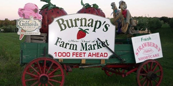 Wagon Burnap's Farm Market sign