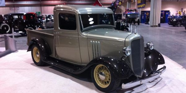 1935 Chevy pick up, True Spoke wire wheels.